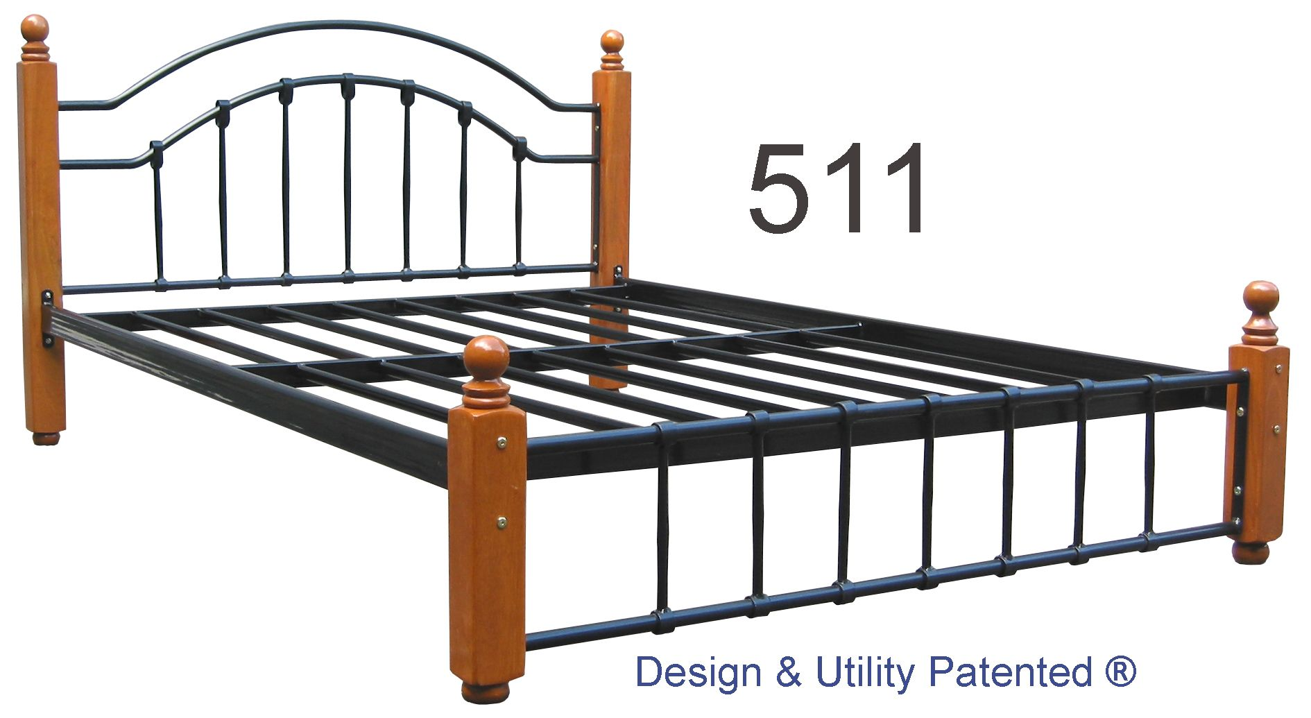 Steel Bed Frame With Solid Wood Posts