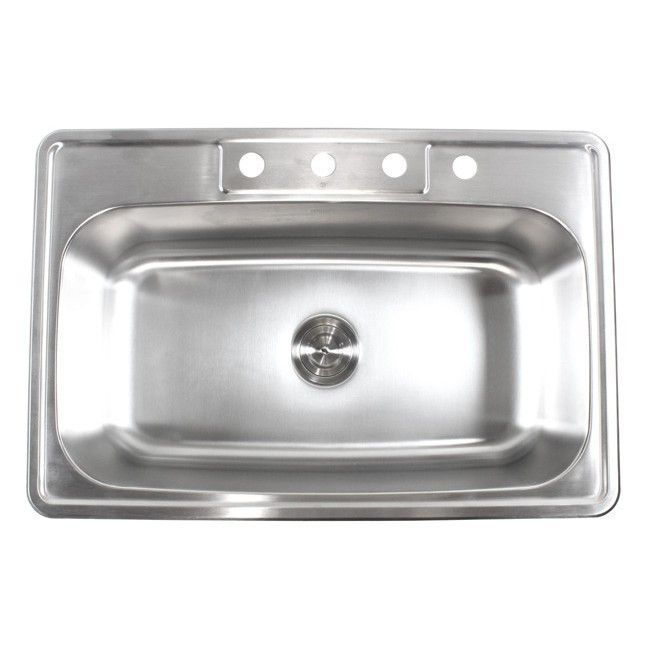 """33"""" x 22"""" Single Bowl Kitchen Sink"""