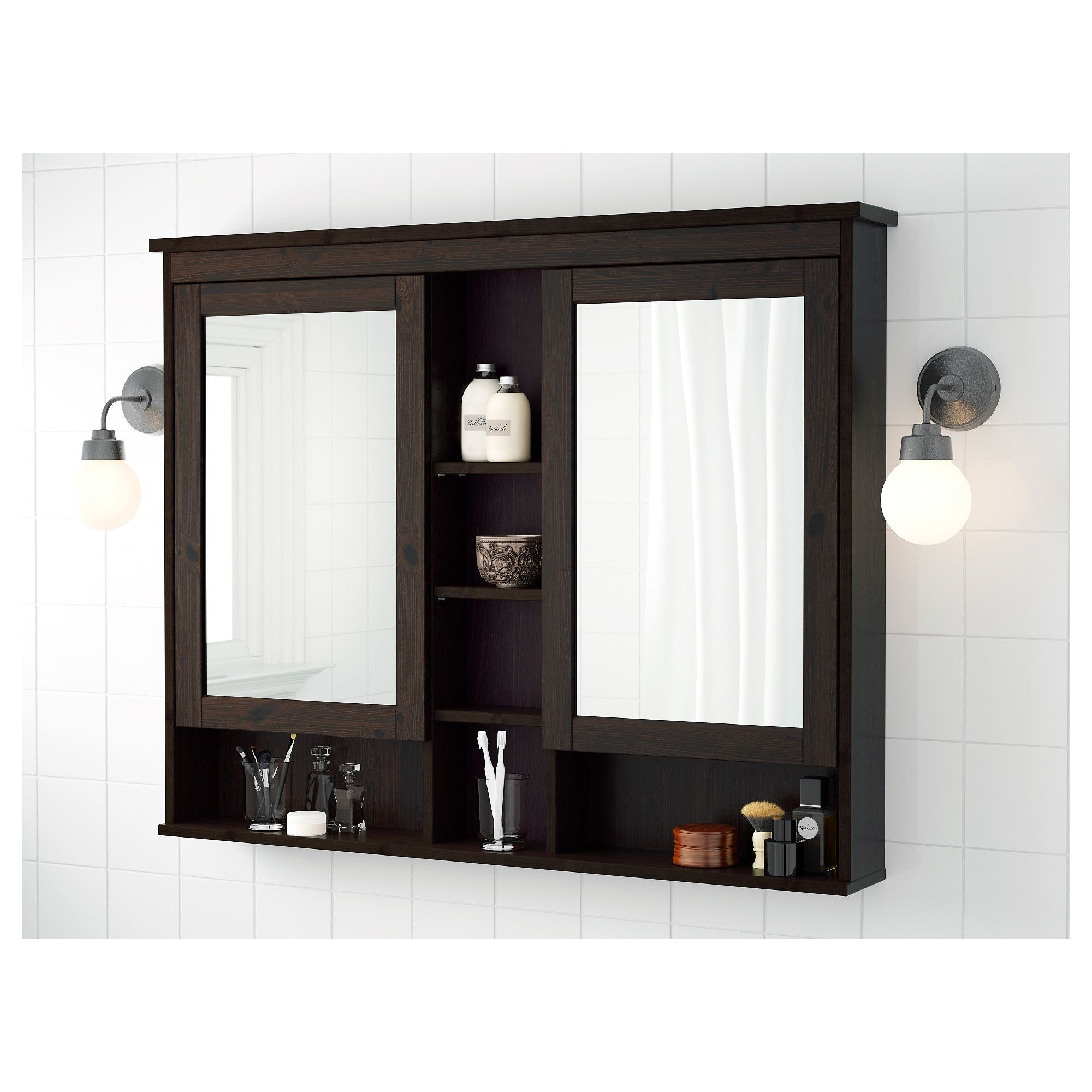 Best Ikea Hemnes Mirror Cabinet With 2 Doors Black Brown 400 x 300