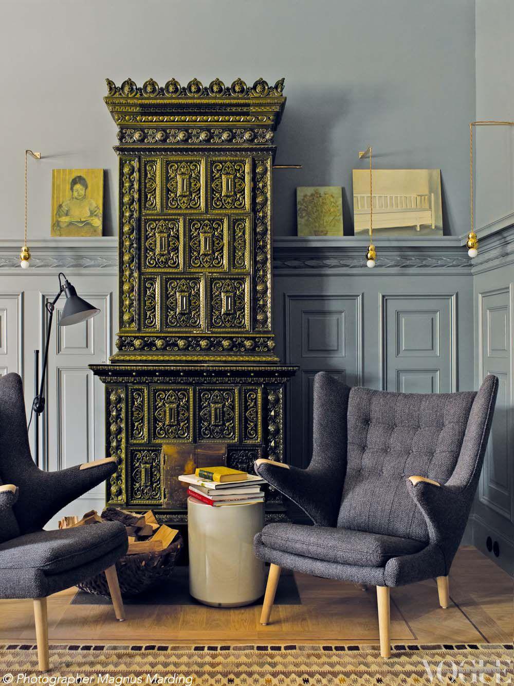 J'adoooooore les fauteuils Pour les fauteuils, faire les brocantes danoises. Moi j'adore le poêle.