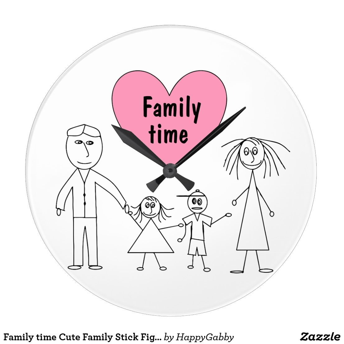 Family Time Cute Family Stick Figures Design Large Clock Zazzle