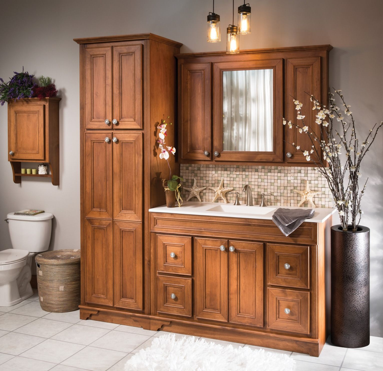 Reinvigorate Your Bathroom With A Briarwood Highland Vanity Set Complete With Four Large Drawers This St Small Bathroom Redo Bathroom Cabinetry Bath Makeover