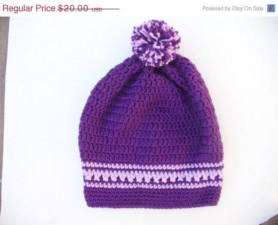 CIJ SALE Crocheted Purple Slouch Hat by ACCrochet on Etsy, $15.00