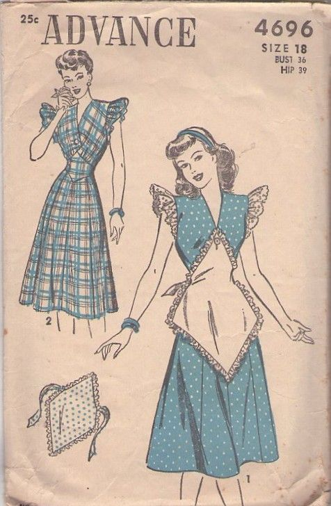 Advance 4696 Vintage 40's Sewing Pattern Day Dress with Button On  Attachable Bib Half Apron