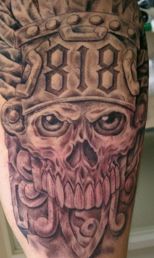 See more tattoo ideas on http://tattoosaddict.com/fantastic-aztec-skull-tattoos-design-275.html fantastic aztec skull tattoos design #275 - http://goo.gl/6B7W1a #275, #Aztec, #Design, #Fantastic, #Skull, #Tattoos