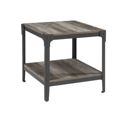 Walker Edison Angle Iron Rustic Wood End Table Set Of 2 Grey