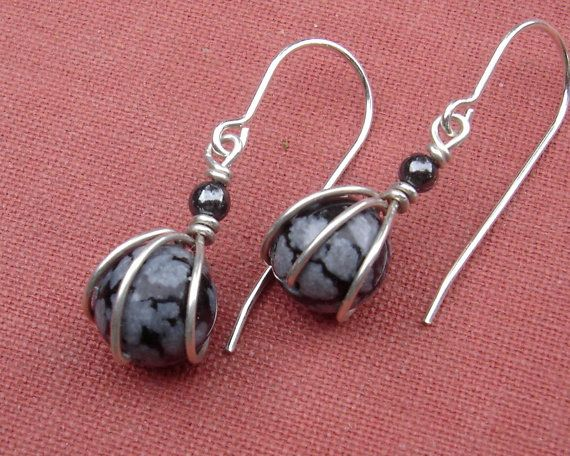 Photo of Tiny Snowflake Obsidian Earrings, Gift for Her Sterling Silver Wire Wrapped Jewelry, Small Stone Jewelry, Small Stone Earrings