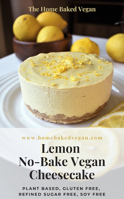 Gluten Free Lemon No Bake Vegan Cheesecake