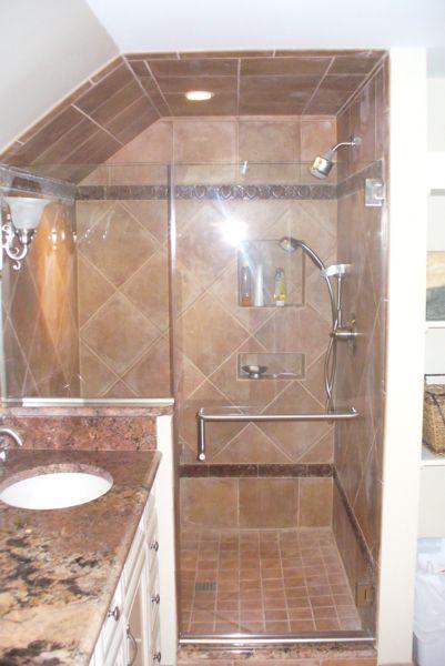 Shower Doors for Sloped Ceilings | frameless-shower-door-with-knee
