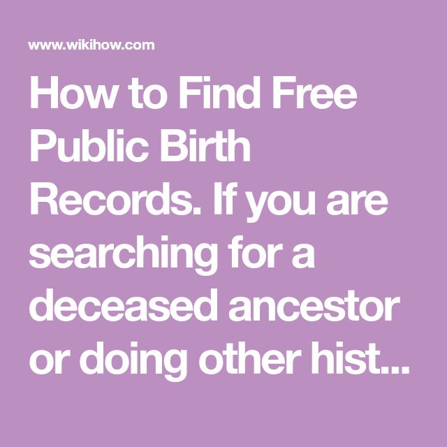 Find Free Public Birth Records