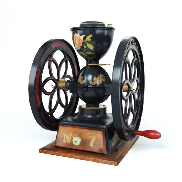 Highly detailed retro type 3d model of antique coffee grinder with textures, shaders and materials. It is ready to use, just put it into your scene.