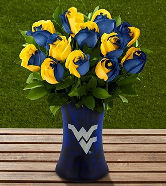 The Ftd West Virginia University Mountaineers Rose Bouquet 12 Stems Vase Included West Virginia University West Virginia Girl University Of Pittsburgh