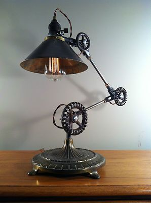 Vintage Industrial Desk Lamp Machine Age Task Light Cast Iron ...