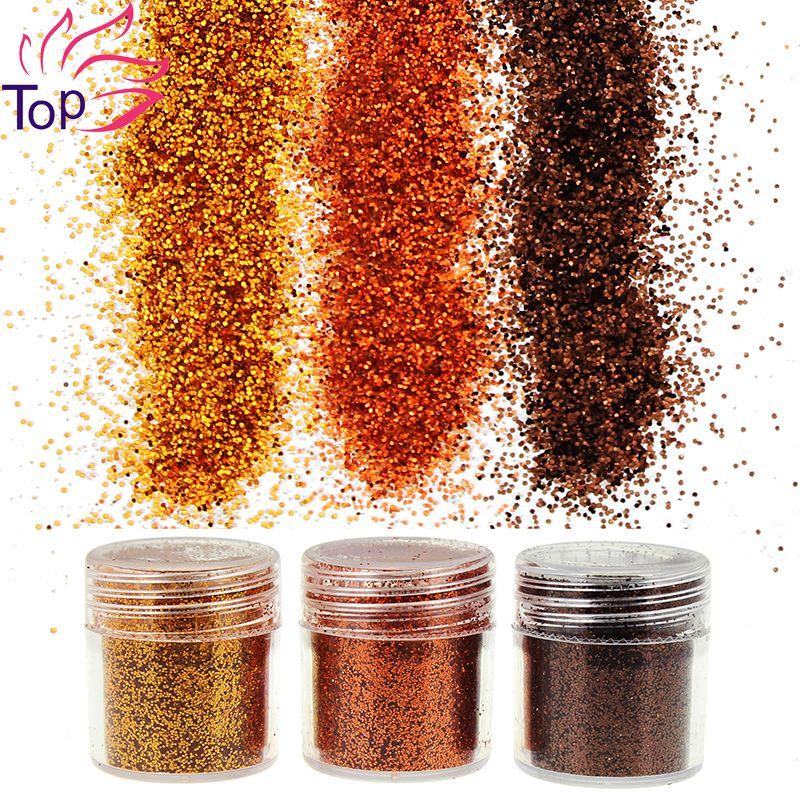 زجاجة 3 مجموعة3 التصاميم الترتر البني جوهرة مسمار غليتر الغبار زخارف الاكريليك الأشعة فوق البنفسجية Bg064 066 3d مسمار الف Gem Nails Glitter Decor 3d Nail Art