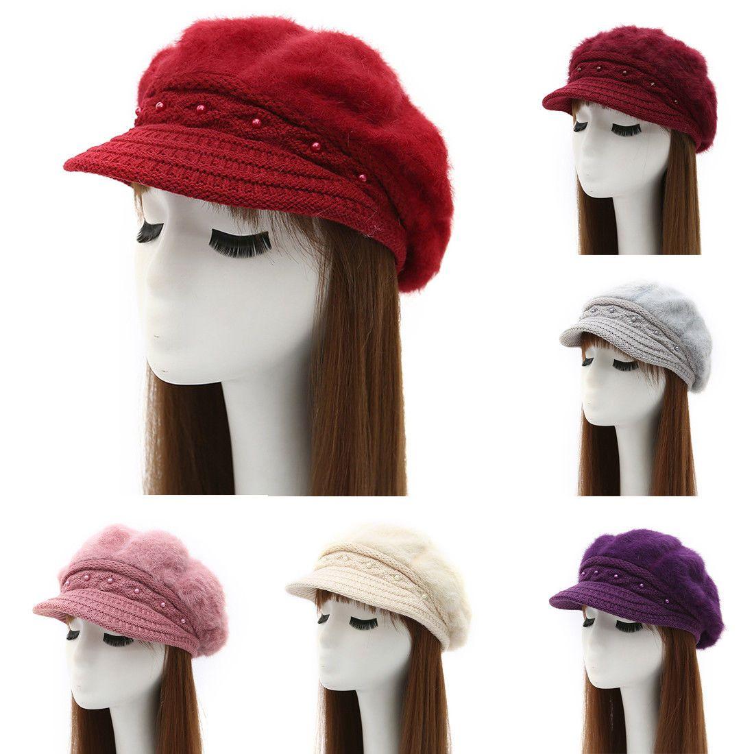 Fashion Winter Warm Solid Color Women Pearl Knit Beanie Hat Berets  Casquette Cap c91ac34f5a6d