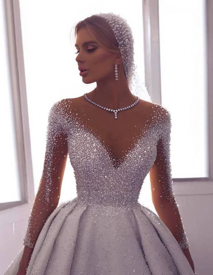 Diamond Necklace And Earrings Crystal Top And Sleeves Long Sleeve Bridal Gowns Wedding Dress Long Sleeve Bridal Dresses Lace Wedding Dress Sleeves