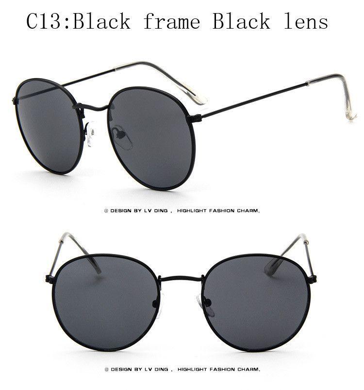 203940edf297c Vintage Round Sunglasses Women men female brand Metal Frames Mirror Lenses  Sun Glasses For women retro Male