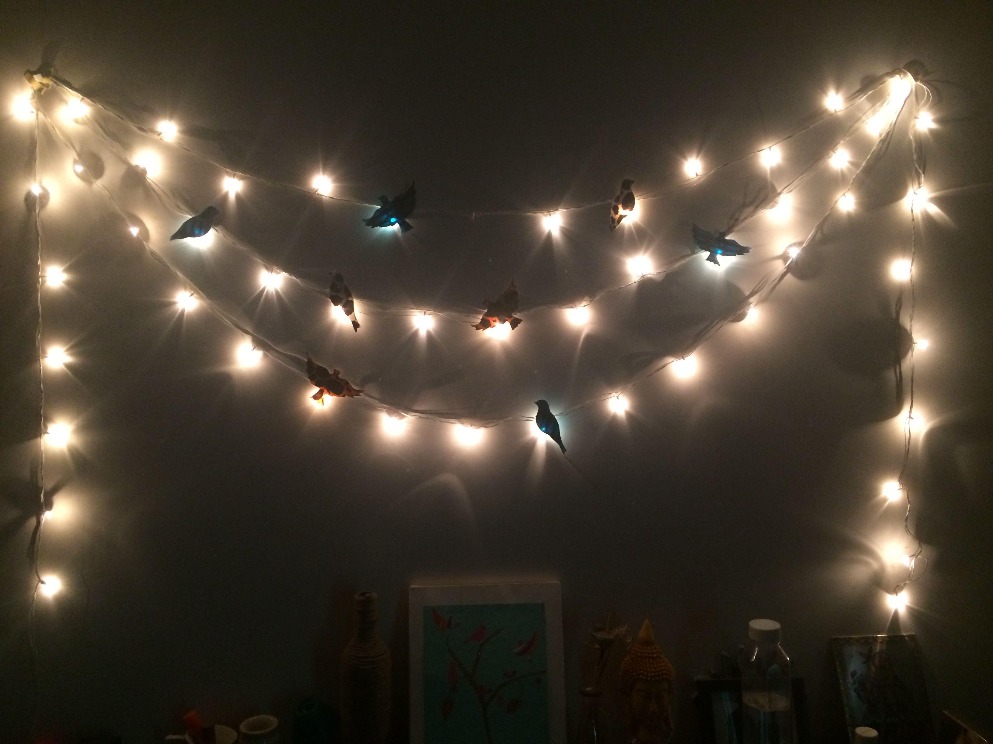 Fairy Lights And Birds Wall Decor Bird Wall Decor Room Diy Decor