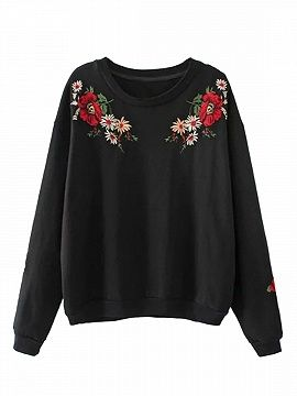 Shop Black Embroidery Flower Long Sleeve Sweatshirt from choies.com .Free shipping Worldwide.$24.29