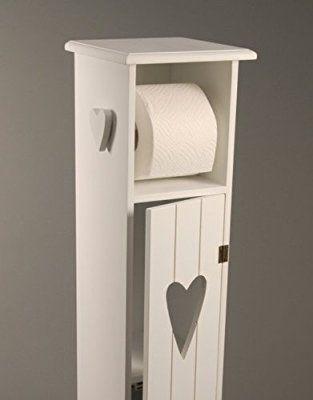 Toilettenpapierhalter Toilettenpapierständer Holz Weiß   H75cm