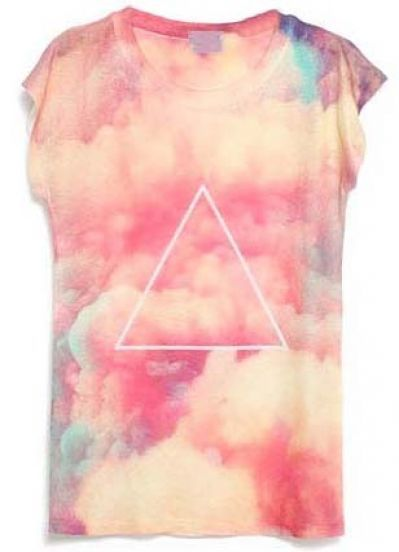 Something like this, with a round gold sun painted in the center instead of a triangle. How do I get that cloud effect with dye? Pink short-sleeve cloud print T-Shirt - Sheinside.com