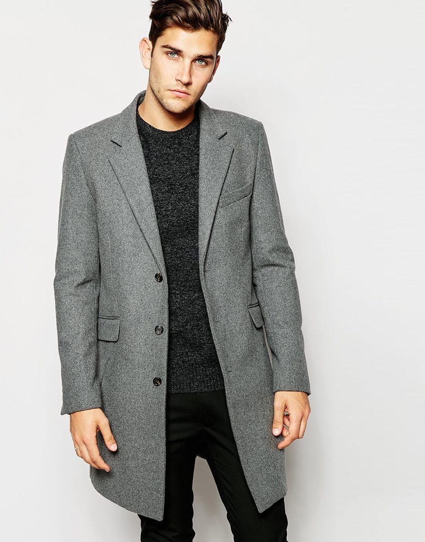 ASOS Wool Overcoat In Light Grey