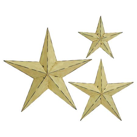 Metal star wall decor set with weathered details. Product: Small ...