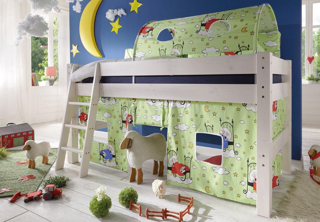Abenteuerbett Sophie ↠Entdecken sie bei uns im Onlineshop eine fantastische Auswahl an #Abenteuerbetten, die die Phantasie ihrer Kinder anregen:  https://www.more2home.de/abenteuerbett-pirat-iv-halbhoch-2009/ ↠ #Kinderbetten #Abenteuerbett #Hochbett #Kinderzimmer