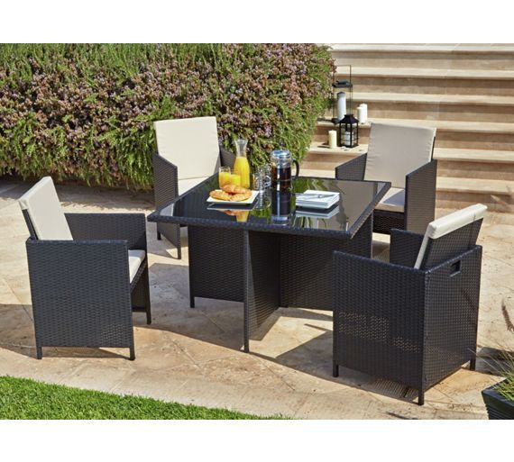 buy home cube rattan effect 4 seater patio set black at argosco - Rattan Garden Furniture 4 Seater