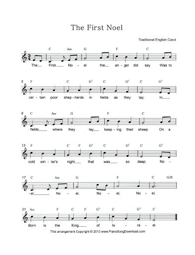 Christmas Tune The First Noel In A Lead Sheet Form Is Great For