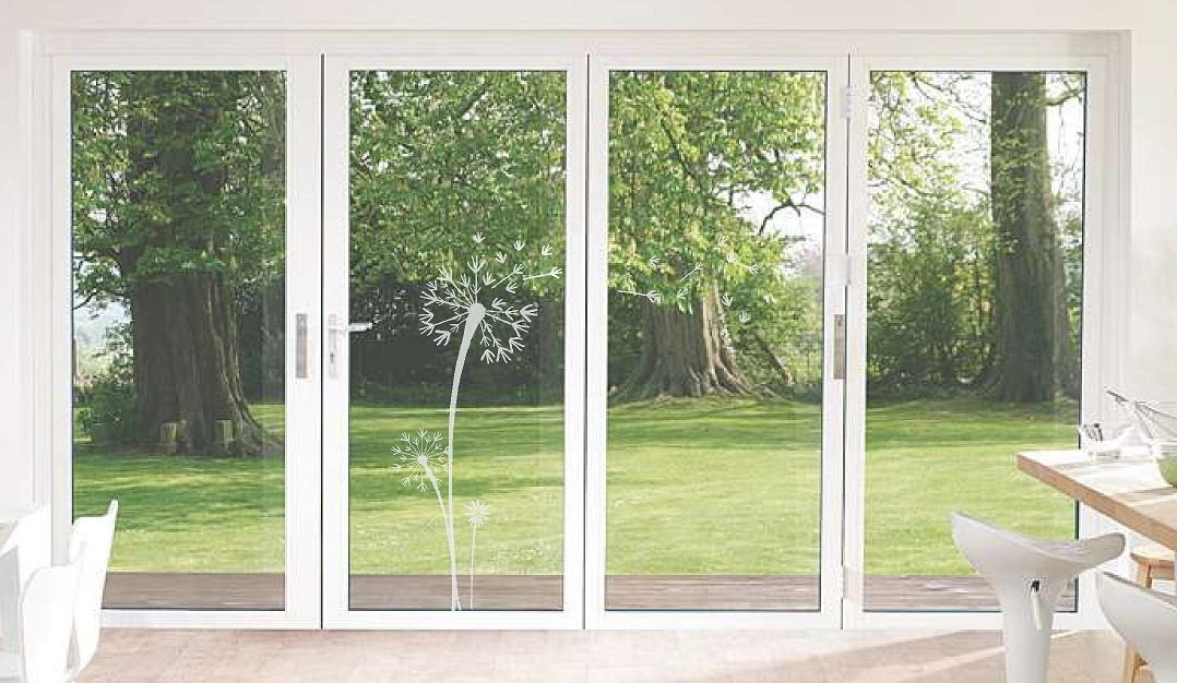 Etched Glass Vinyl Dandelion Wall Decal Blowing Seeds Windows - Vinyl decals for sliding glass doors