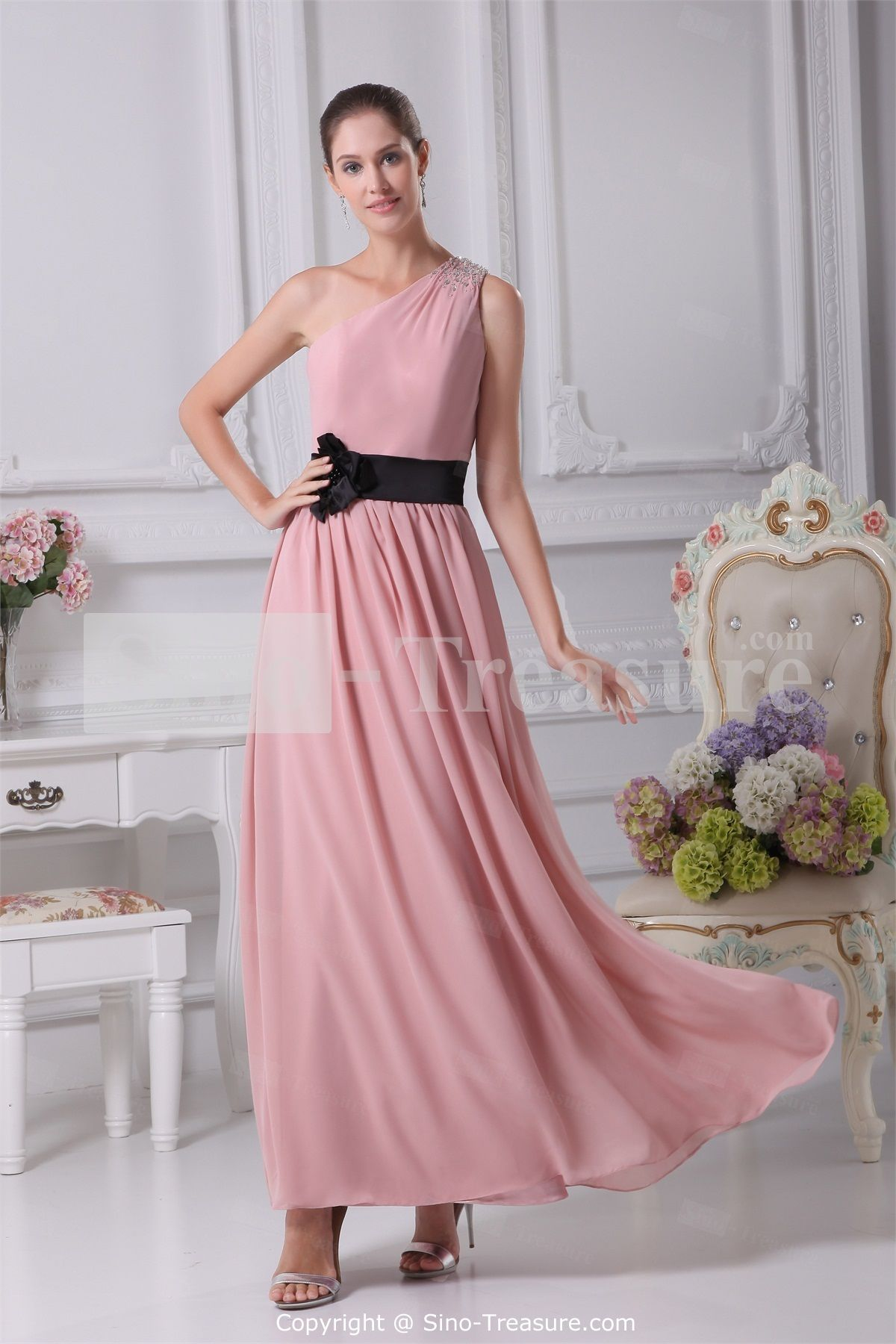 Chiffon one shoulder plus sizes sleeveless ankle length bridesmaid chiffon one shoulder plus sizes sleeveless ankle length bridesmaid dresses wholesale price us13799 ombrellifo Image collections