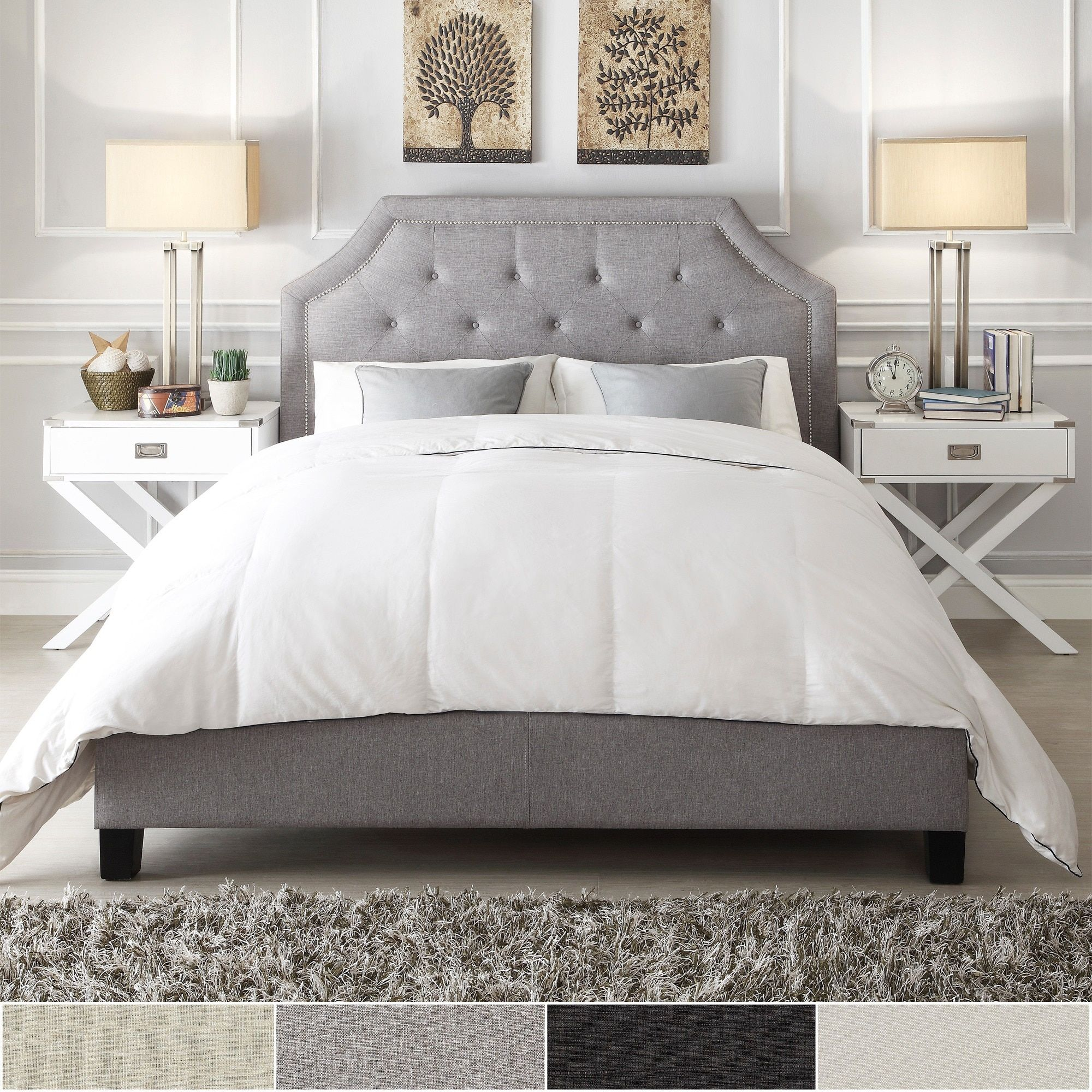 Grace Button Tufted Arched Bridge Upholstered Queen Bed by INSPIRE Q |  Overstock.com Shopping