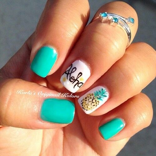 Pineapple Easy Summer Nail Art for Short Nails - I Like The Teal With Just The Pineapple Nail. Into Pineapples For