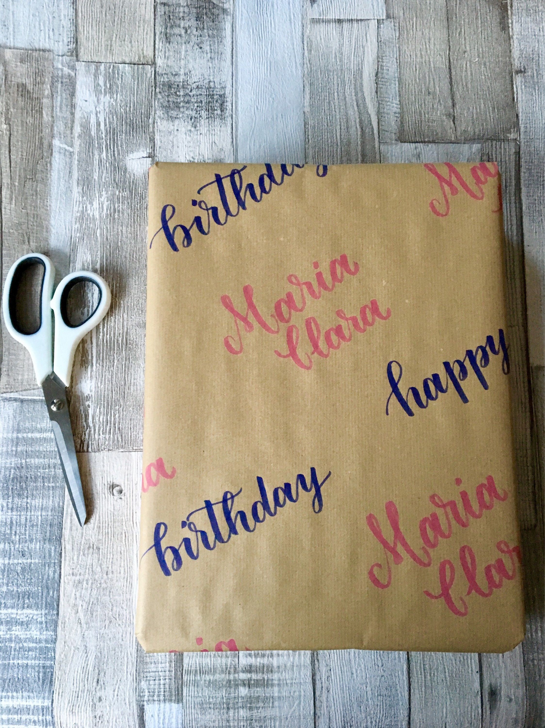Handwritten Wrapping Paper Happy Birthday Supplies On