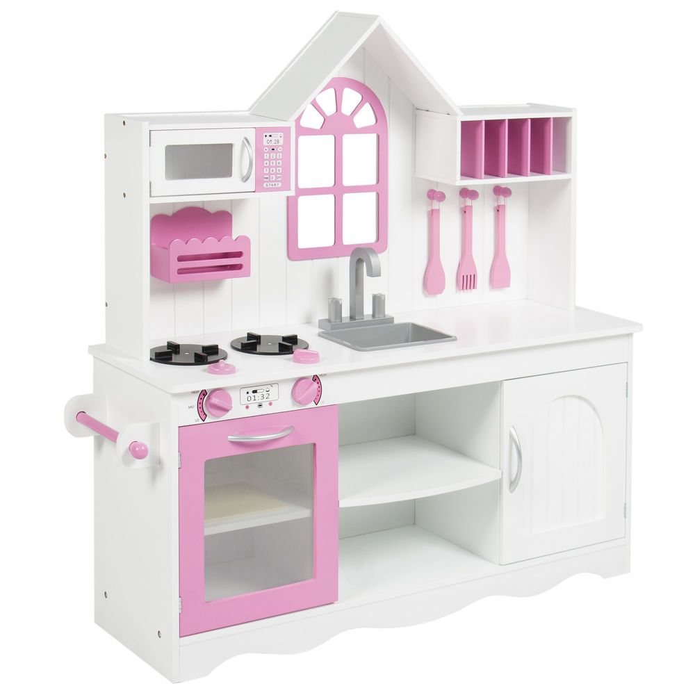 Details about BCP Kids Wood Kitchen Toy Toddler Pretend Play Set ...