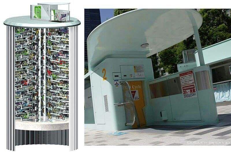 도심 자전거 자동 주차 일본 Giken Ltd는 도심 자전거주차 부지 확보의 어려움을 해결하고 자전거 주차 오염을 방지기 위해 원통형 지하 주차설비를 개발하여 도쿄 도심에 144대 주차 가 Bike Parking Design Innovation