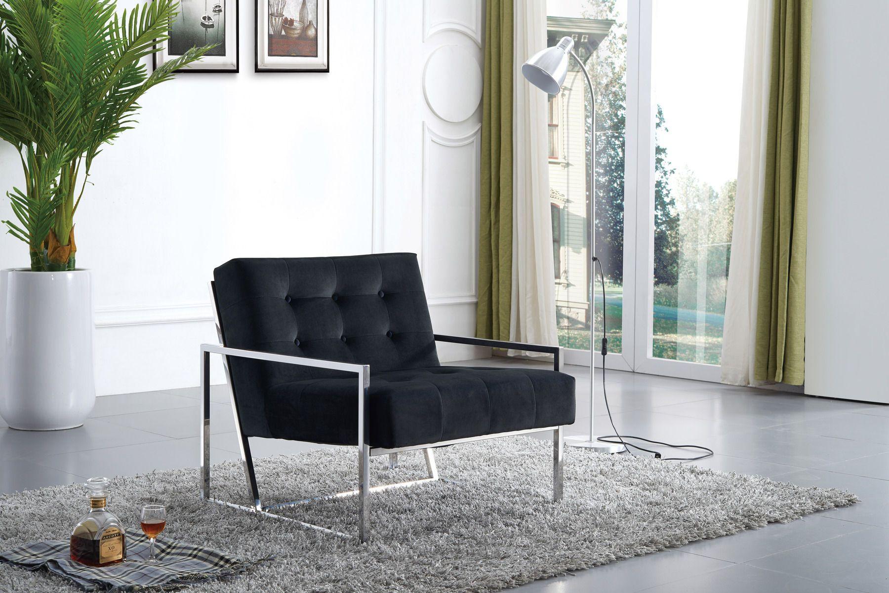 Best Meridian Alexis Black Velvet Fabric Modern Accent Chair W 400 x 300