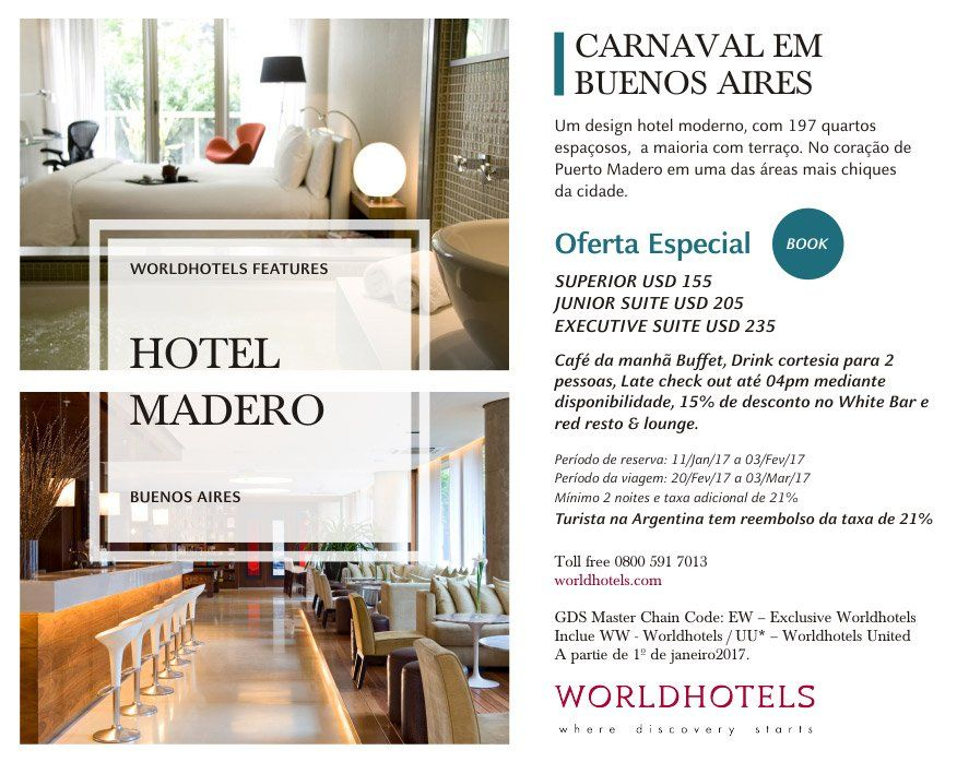 WORLDHOTELS - CARNAVAL em BUENOS AIRES - OFERTA ESPECIAL  https://t.co/FZf4SrgtHe https://t.co/u0Y9DzdVvn
