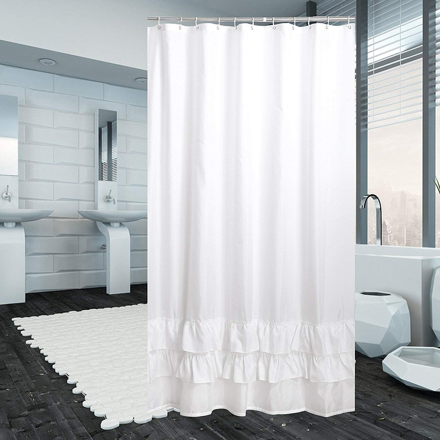 Avershine Ruffle Mildew Resistant Polyester Fabric Shower Curtain