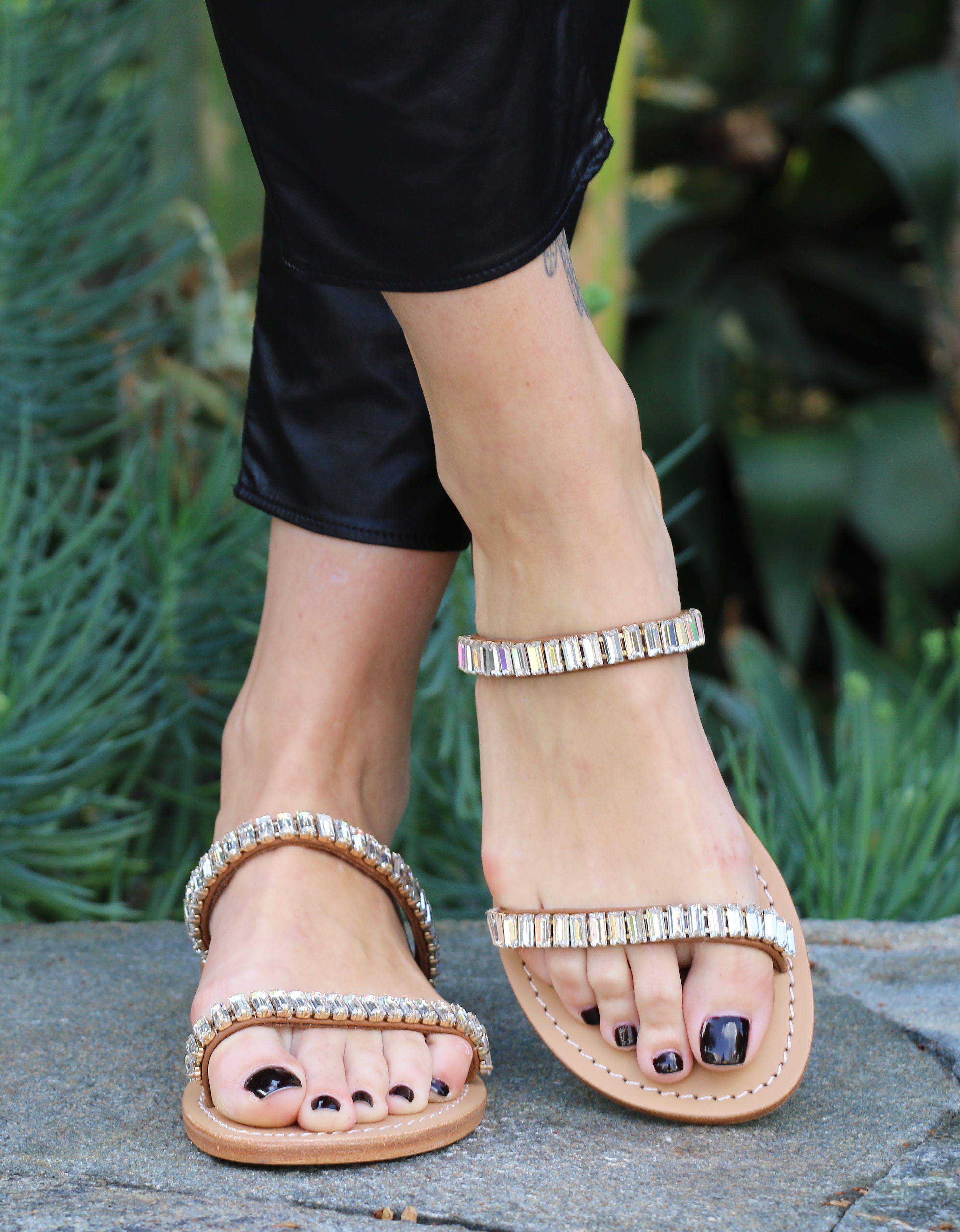 272beafc29080d Handmade Jeweled Slide Sandals! Simple