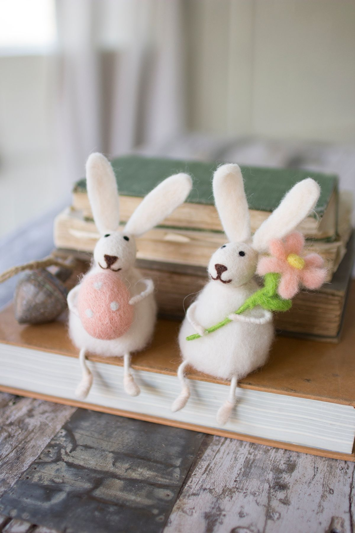 Decorative Set of Two Felt Rabbits With Flower And Egg Min 20 ...