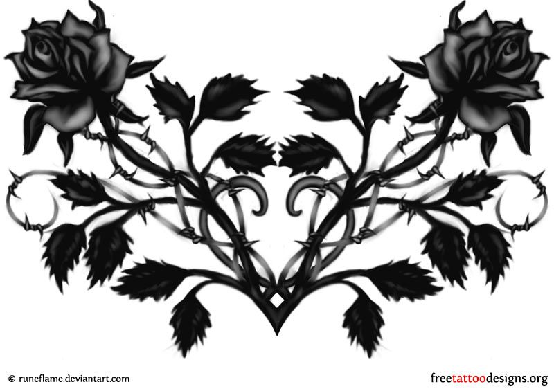 Black Rose And Heart Tattoo Design Ideal For The Lower Back Lower Back Tattoos Black Rose Tattoos Lower Back Tattoo Designs