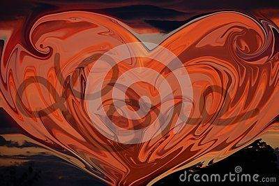 An orange colored heart with love written in the center