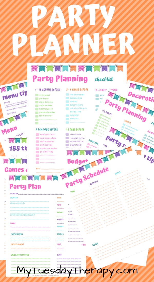 Party Planner Printable Party Planners Printable Kids Birthday
