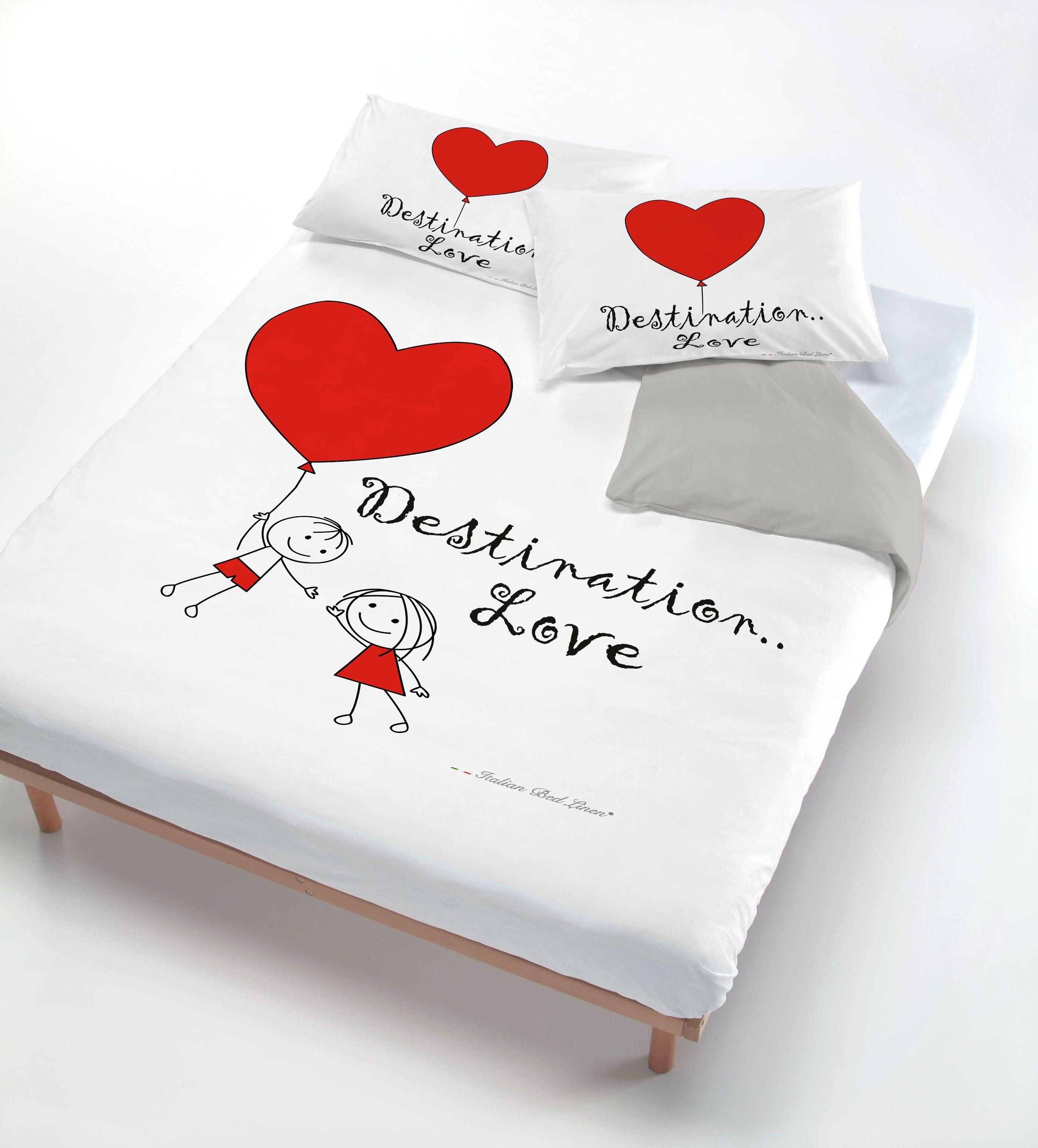 Copri Piumino Con Stampa Sul Sacco E Federe Destination Love - Singolo