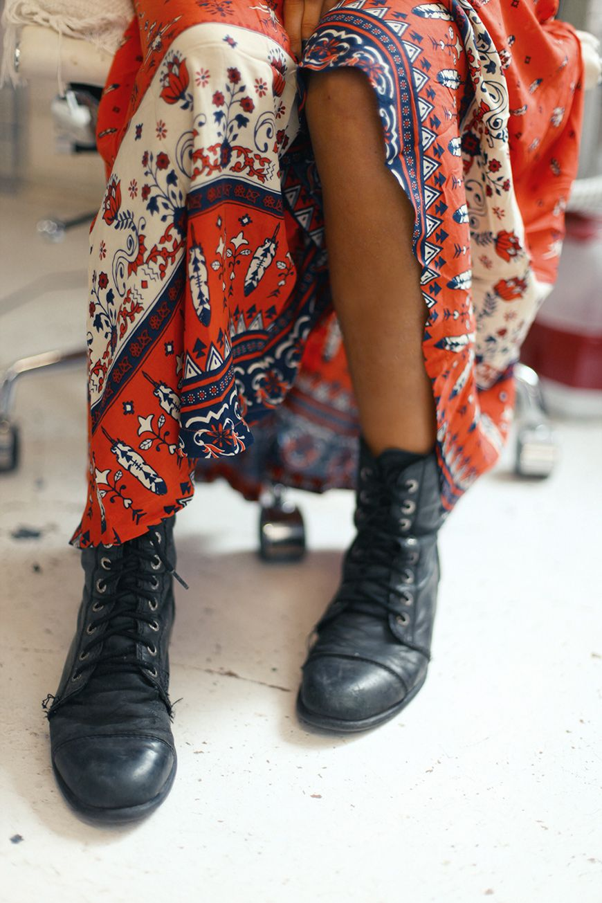 Combat boots worn with a boho maxi. My fave.