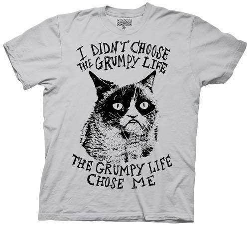 Grumpy Cat The Grumpy Life Chose Me Gray T-Shirt