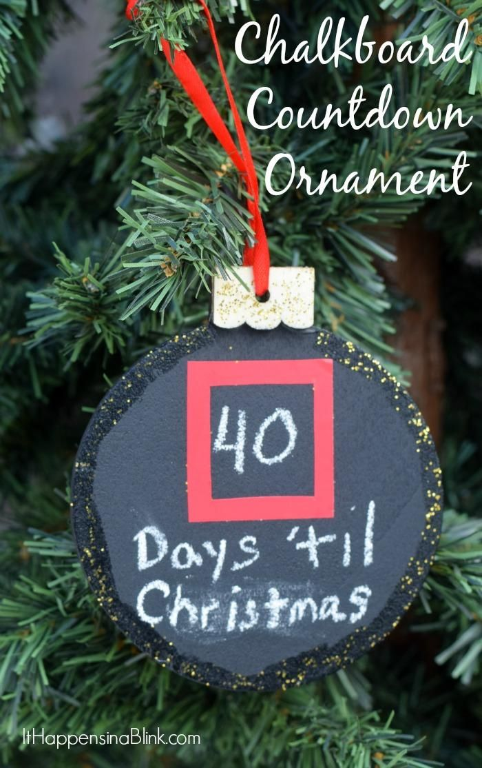 Check out this adorable DIY Chalkboard Countdown Ornament for the holidays