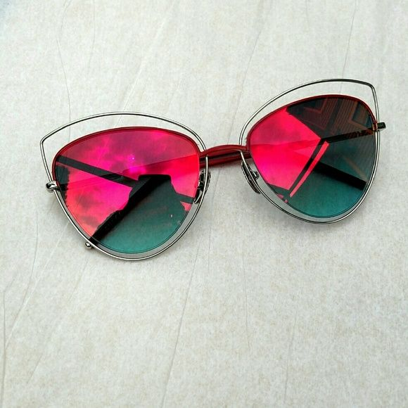 f94086e846 Red Mirror Cat Eye Sunglasses Super cute metal cat eye sunglasses with red  mirrored lenses! The frame is silver with red accents. Lenses are approx.